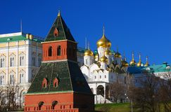 Moscow Kremlin. Annunciation cathedral and old tower Stock Photography