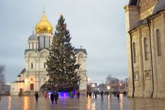 Moscow Kremlin. Archangels cathedral and Christmas tree. Color photo. Moscow Kremlin. UNESCO World Heritage Site. Archangels cathedral and Christmas tree. Color stock photography