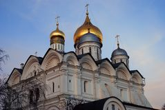 Moscow Kremlin. Archangels church. Blue sky background. Moscow Kremlin. Archangels church. UNESCO World Heritage Site. Color photo. Blue sky background Royalty Free Stock Photos