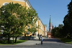 The Moscow Kremlin. Arsenal and Nikolskaya tower in the background. Stock Image