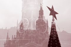 Moscow Kremlin. Artistic collage in sepia tones. Royalty Free Stock Photography