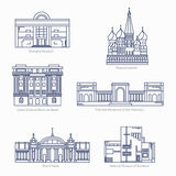 Moscow Kremlin, Bank of Brazil Cultural Center, Fine Arts Museums of. Monuments thin line vector icons. Shanghai museum, Moscow Kremlin, Bank of Brazil Cultural Stock Photography
