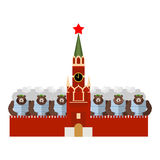 Moscow Kremlin and bears. Many Russian evil animals sit in Mosco Royalty Free Stock Photo