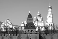 Moscow Kremlin. Black and white photo. Stock Images