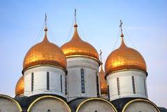Moscow Kremlin. Blue sky background. Dormition church Royalty Free Stock Photos