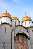 Moscow Kremlin. Blue sky background. Dormition church Stock Images