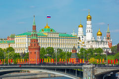 Moscow Kremlin and Bolshoy Kamenny Bridge Stock Photo