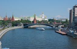 Moscow Kremlin through the bridge Stock Image