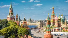 Moscow Kremlin and Cathedral of St. Basil on Red Square. Moscow Kremlin and Cathedral of St. Basil on the Red Square, Russia. Panoramic view. The Red Square is royalty free stock photos