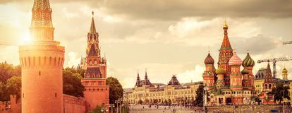 Moscow Kremlin and Cathedral of St. Basil on the Red Square. Panoramic view of Moscow Kremlin and Cathedral of St. Basil on the Red Square in Moscow, Russia. The stock images