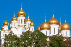 Moscow Kremlin Cathedrals Royalty Free Stock Photo