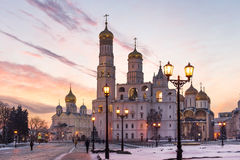 Moscow Kremlin cathedrals at sunset Stock Photos