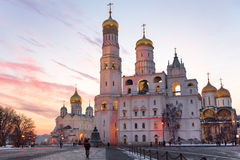 Moscow Kremlin cathedrals at sunset Royalty Free Stock Photo
