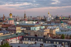 Moscow Kremlin and center of Moscow. Top evening view of Moscow Kremlin and center of Moscow stock photos