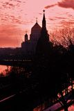 Moscow Kremlin and Christ Redeemer cathedral. Color photo. Stock Images