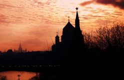 Moscow Kremlin and Christ Redeemer cathedral silhouette. Color photo. Stock Photography
