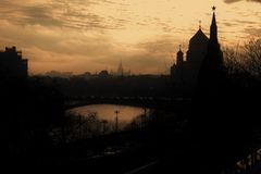 Moscow Kremlin and Christ the Redeemer church. Color photo. Stock Photography