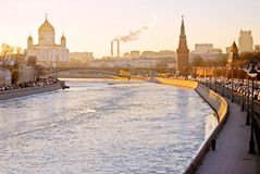 Moscow Kremlin and Christ Remeeder Cathedral. Color photo. Stock Photo