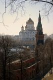Moscow Kremlin and Christ the Saviors church. UNESCO World Heritage Site. Stock Image
