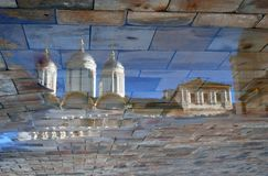 Moscow Kremlin church. Abstract water reflection.  Color photo. Royalty Free Stock Photo
