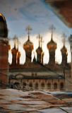 Moscow Kremlin church. Abstract water reflection.  Color photo. Royalty Free Stock Images