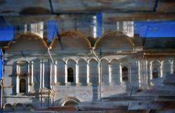 Moscow Kremlin church. Abstract water reflection.  Color photo. Royalty Free Stock Photos