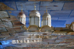 Moscow Kremlin church. Abstract water reflection.  Color photo. Royalty Free Stock Image