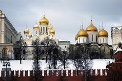 Moscow Kremlin churches. Color winter photo. Stock Images