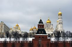 Moscow Kremlin churches Color winter photo. Stock Photos