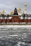 Moscow Kremlin churches. Color winter photo. Royalty Free Stock Photos