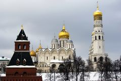 Moscow Kremlin churches. Color winter photo. Royalty Free Stock Photo