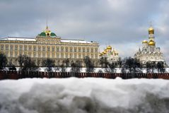 Moscow Kremlin churches. Color winter photo. Stock Photo