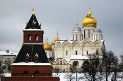 Moscow Kremlin churches. Color winter photo. Stock Photo