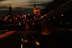 Moscow Kremlin and Moscow city at night. royalty free stock photography