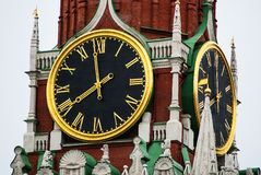 Moscow. Kremlin Clock on the Spasskaya Tower. Russia. Moscow. Kremlin Clock is a historic clock on the Spasskaya Tower of the Moscow Kremlin. The clock dial is Stock Images