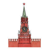 Moscow Kremlin clock tower isolated Stock Photos
