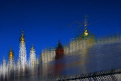 Moscow Kremlin. Color photo. Abstract water reflection. Stock Images