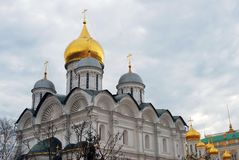 Moscow Kremlin. Color photo. Archangels and Annunciation cathedrals Stock Photography