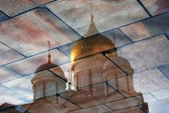 Moscow Kremlin. Color photo. Archangels cathedral, water reflection Royalty Free Stock Photography