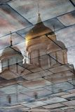 Moscow Kremlin. Color photo. Archangels cathedral. Water reflection Stock Photography