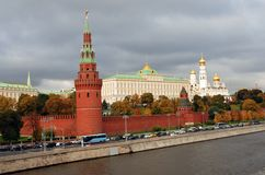 Moscow Kremlin. Color photo. Autumn trees. Stock Image
