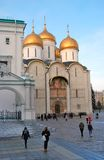Moscow Kremlin. Color photo. Dormition church and Faceted Chamber Stock Images