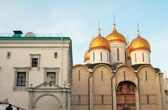 Moscow Kremlin. Color photo. Dormition church and Faceted Chamber Stock Photography