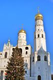 Moscow Kremlin. Color photo. New year tree. Royalty Free Stock Photography