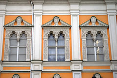 Moscow Kremlin. Color photo. Two crosses reflection in a glass window Royalty Free Stock Photo