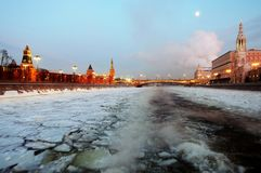 Moscow Kremlin. Color winter photo. Royalty Free Stock Images