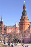 Moscow. Kremlin. Corner Arsenal Tower and the Alexander Garden Royalty Free Stock Image