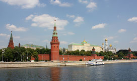 Moscow Kremlin. Kremlin (Cremlin) in Moscow with towers, palace, cathedral, wall of stones, Moscow river Royalty Free Stock Photography