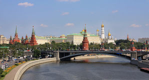 Moscow Kremlin. Kremlin (Cremlin) in Moscow with towers, palace, cathedral, wall of stones, Moscow river, embankment and bridge Stock Image