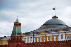 Moscow. Kremlin. The dome of the building of the Senate and the Kremlin wall. Now in a historic building of the Senate in the Kremlin is the residence of the Royalty Free Stock Images